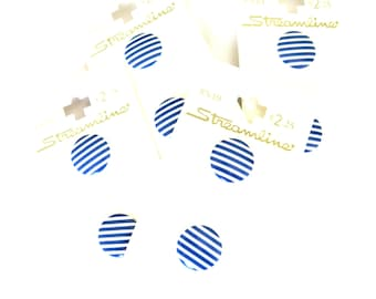 Buttons Blue White Stripe Plastic Set of 8 15mm Deadstock