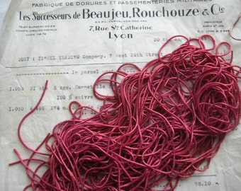 1 Pc AUTHENTIC FRENCH Vintage Dk Pink Metal Thread Check Purl Bullion Embroidery