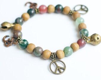 Charm Yoga Bracelet, Yoga Jewelry, Mala Beads, Wrist Mala Beads, Charm Bracelet, Stretchy Bracelet, Peace Sign, Boho bracelet