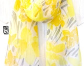 Silk Scarf Handpainted Gift for her, Anniversary Gift, Yellow and Gray Scarf, Yellow Daffodils Scarf, Silk Chiffon, 11x59 in. Made to order