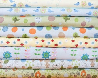 Animal Friends Fabric Bundle -  Fat Quarter Bundle - 8 fat quarter pieces (B327)