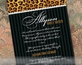 cheetah sweet sixteen party, animal print party, animal print invitation, black and white formal event, cheetah retirement, IN395
