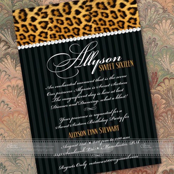 sweet sixteen party invitations, cheetah sweet sixteen party invitations, cheetah bridal shower invitations, cheetah retirement party, IN395