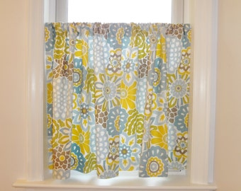 Cafe Curtains Window Treatment  Waverly Buttons & Blooms Pom Pom Curtains Half Window