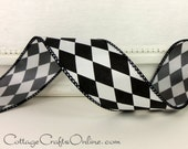 "Wired Ribbon, 1 1/2"" wide, Black and White Harlequin Diamond - SIX & 7/8 YARDS - Offray ""Court Jester"" #80627 Craft Wire Edged Ribbon"