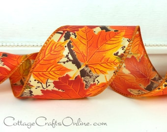 "Wired Ribbon Fall, 2 1/2 wide, Orange Maple Leaf Pattern - SIX & 1/4 YARDS -  ""Leaf 40"" #60435 Autumn, Thanksgiving Wire Edged Ribbon"