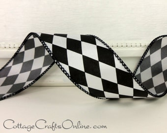 """Wired Ribbon, 1 1/2"""" wide, Black and White Harlequin Diamond - THREE YARDS - Offray """"Court Jester"""" Craft Wire Edged Christmas  Ribbon"""
