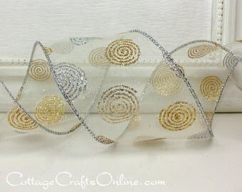 """Christmas Wired Ribbon, 2 1/2"""" , Silver and Gold Glittered Swirls on White Sheer - THREE YARDS - Reliant """"Dot Dazzle""""  Wire Edged Ribbon"""