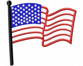 American Flag - Applique - Machine Embroidery Design - 7 Sizes