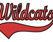 Wildcats - Swoosh - Outline - Machine Embroidery Design - 12 Sizes