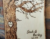 Customized Rustic Tree Design with Heart Carving Wood Burned Tree Slice