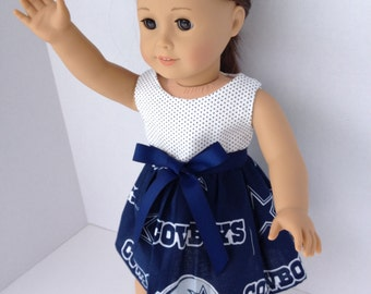 18 inch Doll Dress made of  Dallas Cowboys toss fabric,  made to fit 18 inch dolls such as American Girl and similar 18 inch dolls