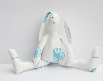 Stuffed bunny white blue Easter bunny rabbit hare softie plush cute stuffed bunny toy birthday and baby shower gift for boy and girl