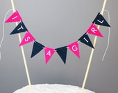 Pink and Navy Blue Baby Shower Cake Topper, Its a Girl Cake Bunting Banner, Nautical Girl Baby Shower Decor, Preppy Girl Baby Shower