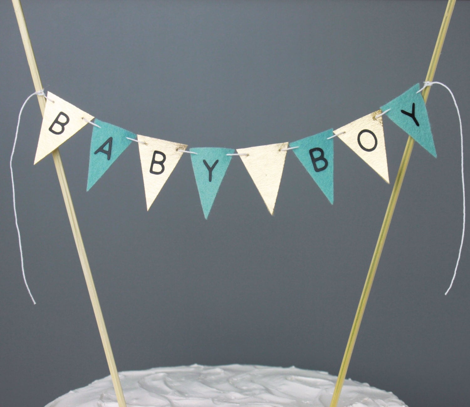 Aqua Blue and Gold Baby Boy Shower Cake Topper Baby Shower