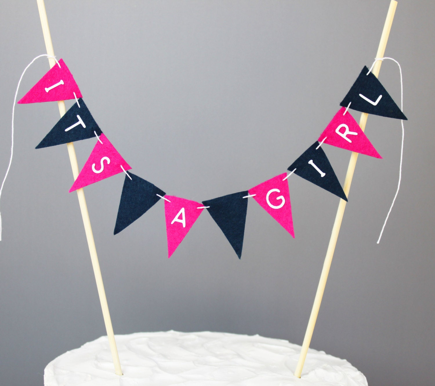 Pink and Navy Blue Baby Shower Cake Topper Its a Girl Cake