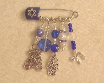 Crib Blessing or Stroller Pin:  Navy Blue Hamsa Ornament for Baby's Room
