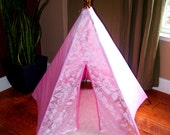 Ready to Ship!!!! Isle 5 sided floral White and pink ombre lace mini teepee with oak stained wooden polls