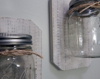 mason jar sconce. Home decor. Rustic wood.Mason jar decor,Wall hangings