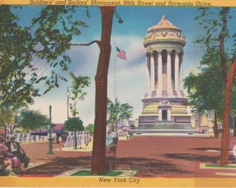 New York City, New York, Soldiers' and Sailors' Monument - Linen Postcard - Unused (A1)