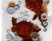 DESTASH Industrial Steampunk Love Story Roses Embellished Stickers - Jolee's Boutique
