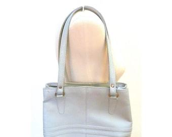 Vintage 1980s Light Grey Leather Shoulder Handbag