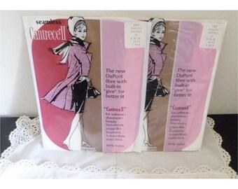 Vintage 1970s Seamless Garter Stockings- B - 2 Pair
