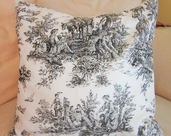 Black Toile Pillow Cover, Decorative Pillow, Toss Pillow, Cottage Chic, French Country