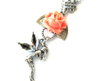 Resin peach rose necklace aniqued silver fairy charm jewelry peach flower nostalgic look fairy necklace