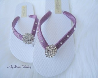 Girls purple flip flops. old rose purple hand wrapped sandals. Choose ribbon color..   - girls Bella collection- purple