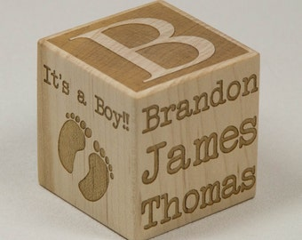 Personalized Baby Block Newborn Birthday Baptism Gift Custom Engraved