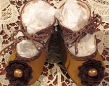Antique Doll Shoes Reproduction Pair By Decojumeau