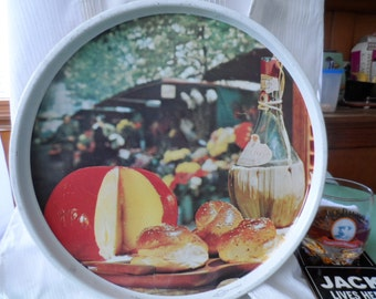 Tray, Alfresco, round, vintage serving tray.