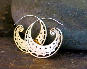 Spiral Moon Brass Earrings