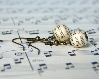 Jane Eyre and Mr Rochester, book page bead earrings
