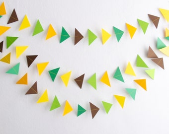Yellow Green Triangle Garland, Triangle Garland, Paper Triangles, Paper Triangle Garland, Birthday Garland, Photo Prop, Paper Garlands