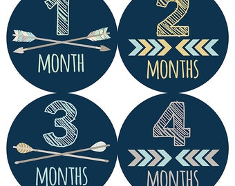 FREE GIFT, Monthly Baby Stickers Boy wtih Gerber Onesie®, Monthly Onesies® Boy, Baby Month Stickers, Tribal, Navy, Arrows, Chevron
