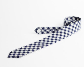 Plaid tie, blue and white necktie, skinny, MADE TO ORDER