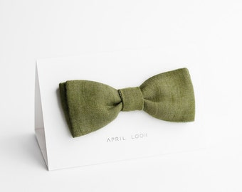 Men's bow ties, moss green - double sided