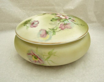 Hand Painted Nippon Wildflower Round Covered Trinket Box, Reproduction Nippon, Nippon Wildflowers Dresser Dish, Nippon Powder Bowl,