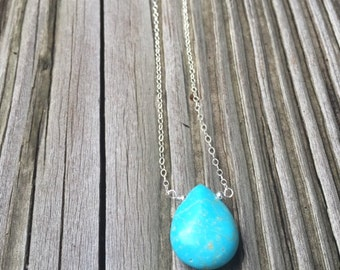 Turquoise Necklace - Turquoise Jewelry - Gemstone Jewellery - Sterling Silver Chain - Fashion