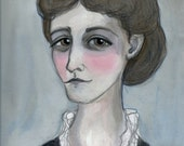 Edith Wharton Literary Portrait Print, Victorian Writer Art (6x8)