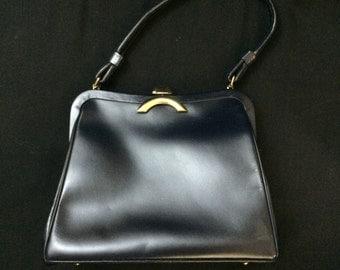 1960s Navy Blue and Gold Pocketbook Handbag by Merit
