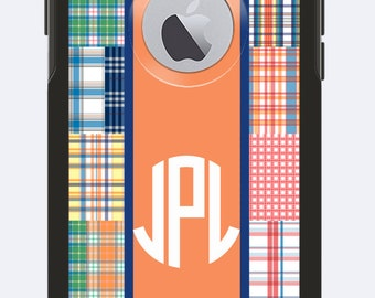 Monogrammed Otterbox Commuter Case iPhone 6 Madras with Center Stripe