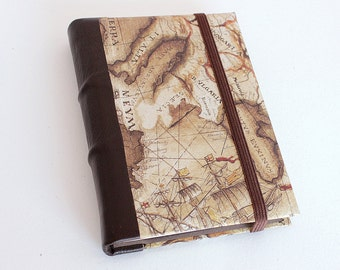Leather Journal w/ Tomoe River- Vintage Map
