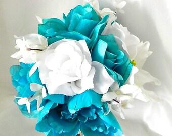 "Silk  Bridal Bouquet,  Romantic  Wedding Keepsake,, 17 Pieces, Turquoise, White Roses, Stephanotis  ""Bountiful Bouquets""   BB#104"