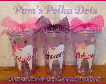 3 Personalized DENTAL ASSISTANT Hygienist Acrylic TUMBLER with Tooth Name Polka Dots Your Color Choices Dentist Orthodontist