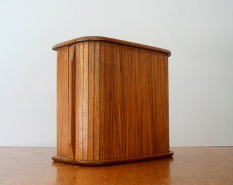 Vintage Kalmar Danish Modern Teak Tambour Storage Box
