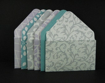 2x3.5 Pretty Purple Aqua and Grey Gift Card Envelopes