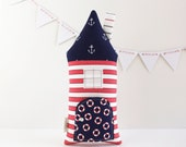 Nautical Tooth Fairy House Pillow BeachCottage Toy Anchor Lifesaver Kids Stuffed Toy Secret Pocket Pillow
